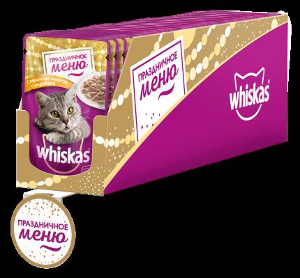 Влажный корм для  кошек Whiskas  сливочное жаркое с индейкой, 28 шт по 85 г