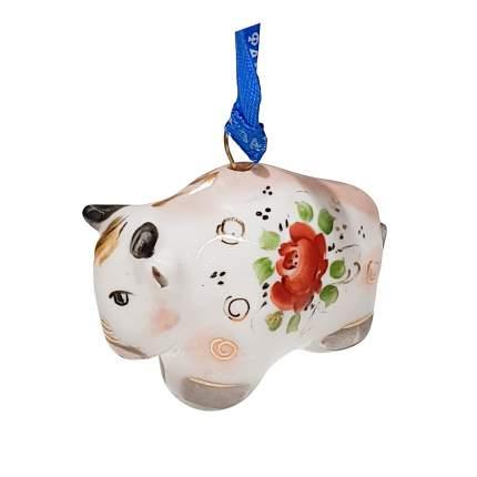 Ёлочная игрушка Бычок в надглазурной цветной росписи