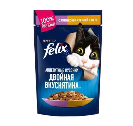 Влажный корм для кошек Felix Двойная вкуснятина, ягненок, курица, 85г