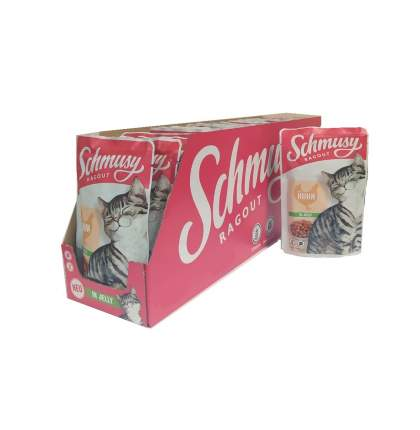 Влажный корм для кошек Schmusy , курица в желе 22шт по 100г