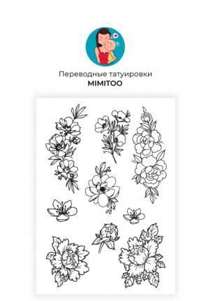 Переводные мини тату Mimitoo  - Цветы контур / временные тату/ временные татуировки