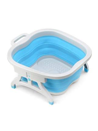 Складная силиконовая ванна для ног Foldable Foot Bucket (бело-голубая)