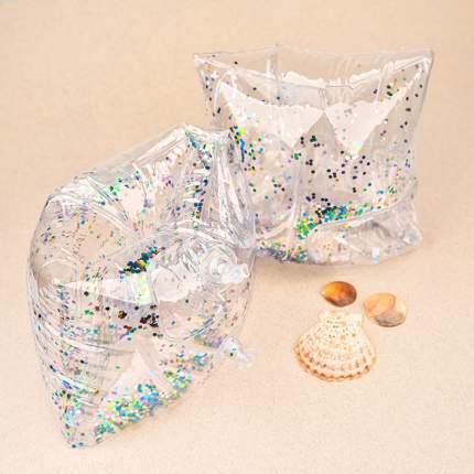 Детские надувные нарукавники Baziator прозрачные с блёстками от 3-6ти лет, серебрянные