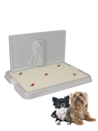 Туалет для собак STEFAN S со стенкой, серый, 50х38х3.5 см
