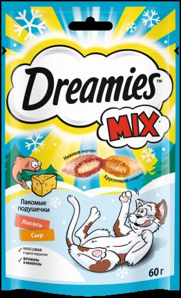 Лакомство для кошек Dreamies MIX  с лососем и сыром, 6 шт по 60г