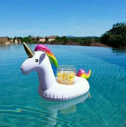 Пляжный надувной подстаканник для напитков в бассейн Baziator единорог радужный