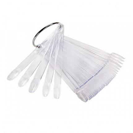 Палитра-веер для лаков ruNail прозрачная, миндалевидная, 50 шт