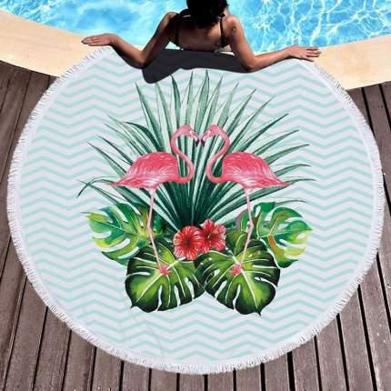 Пляжное покрывало Baziator Фламинго тропики бирюзовый BG0012A 150 см