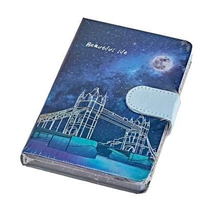 Блокнот Лондонский мост на застёжке-магните закладка 112л 14,5х9,5см синий голографический
