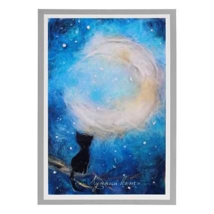 Набор для валяния (живопись цветной шерстью) Лунный кот 21x29,7см (А4)