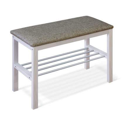Банкетка Leset Фиора, Беленая/ткань серая/металл алюминий