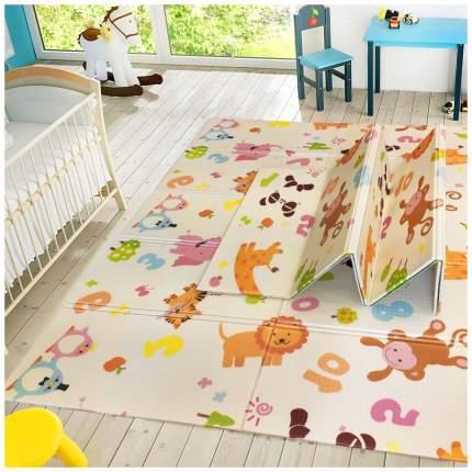 Детский коврик складной игровой SLAMA KIDS - Жираф ростомер + Зверушки и Цифры - 200x180x1
