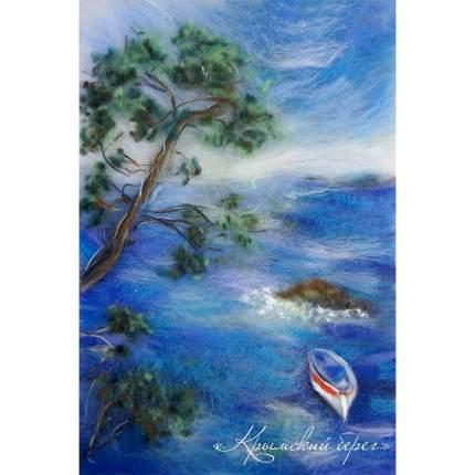Набор для валяния (живопись цветной шерстью) Крымский берег 21x29,7см (А4)