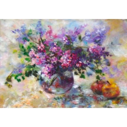 Набор для валяния (живопись цветной шерстью) Сирень 21x29,7см (А4)
