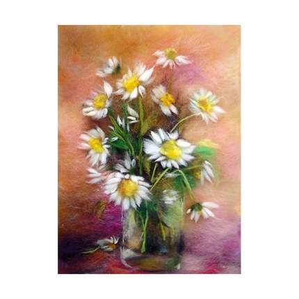 Набор для валяния (живопись цветной шерстью) Ромашки 21x29,7см (А4)