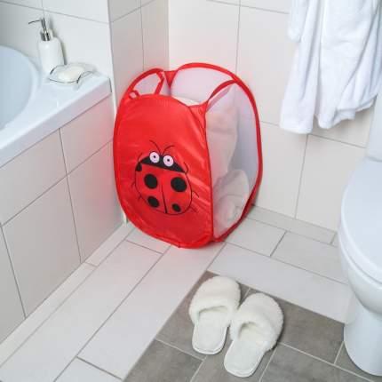 Складная корзина для белья с принтом, 35х56 см (Цвет: Красный  )