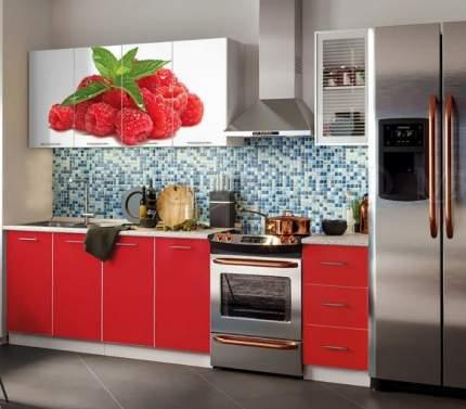 Миф Кухня ЛДСП Фортуна с фотопечатью Малина 2000, красная
