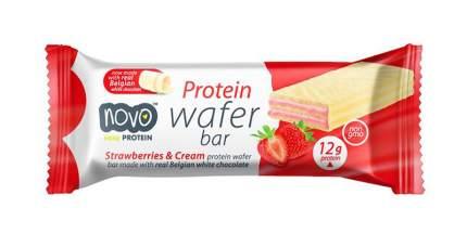 Протеиновые вафли Novo Nutrition Protein Wafer Bar 40 г, 12 шт, клубника со сливками