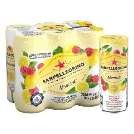 Sanpellegrino Momenti газированный напиток с соком Лимона и Малины, 6 шт по 0,33 мл
