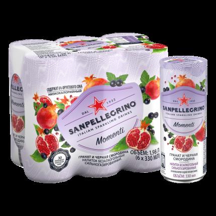 Sanpellegrino Momenti газированный напиток с соком Гранат и смородина, 6 шт по 0,33 мл