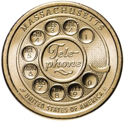 Монета 1 доллар США. Серия: Американские инновации - Телефон, Массачусетс, 2020 г. в. UNC