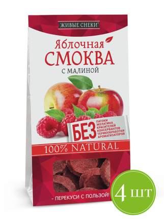 """Яблочная смоква """"С малиной"""", ЖИВЫЕ СНЕКИ 4 шт по 60г"""