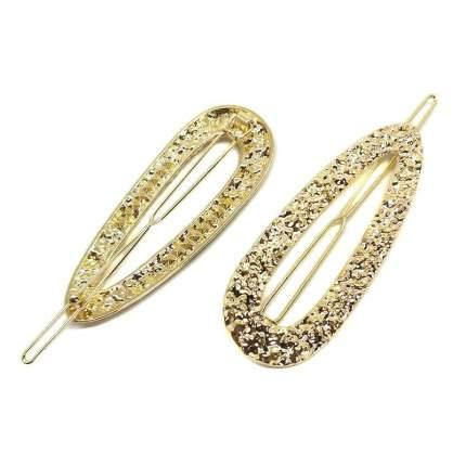 Комплект заколок для волос Baziator, мятый металл овальные золотые, 2 шт