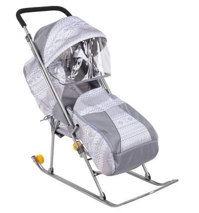 Санки-коляска Galaxy Снежинка Премиум, серые