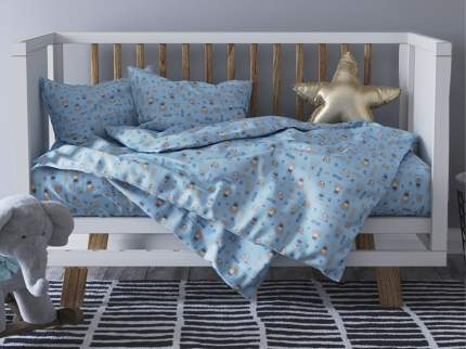 Комплект постельного белья Детский в кроватку Galtex Полосатые мишки голубой