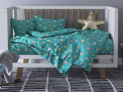 Комплект постельного белья Детский в кроватку Galtex Совунья бирюзовый