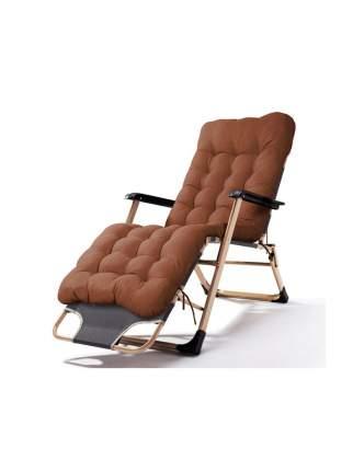 Раскладушка кресло-кровать с матрасом URM, 178х52х38 см, коричневая