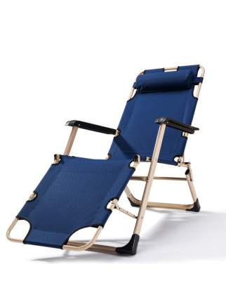 Раскладушка кресло-кровать с подушкой URM, 178х52х38 см, синяя