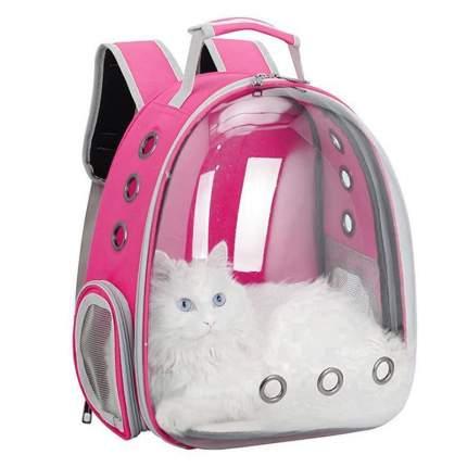 Рюкзак для кошек и собак Baziator Иллюминатор с вентиляцией для воздуха 18x31x42см розовый