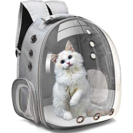 Рюкзак для кошек и собак Baziator Иллюминатор с вентиляцией для воздуха 18x31x42см серый
