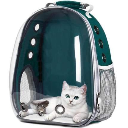 Рюкзак для кошек и собак Baziator Иллюминатор с вентиляцией для воздуха 18x31x42см зеленый