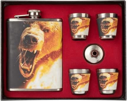 Набор Настоящему мужику Медведь фляжка 240 мл + 4 стопки + воронка Helios HS-N-RM-B-A21