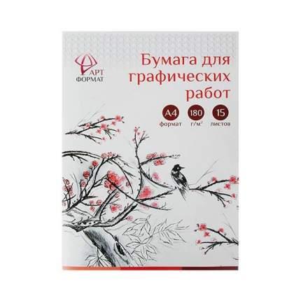 Бумага для графических работ, А4, 15 листов, АРТформат, цвет белый