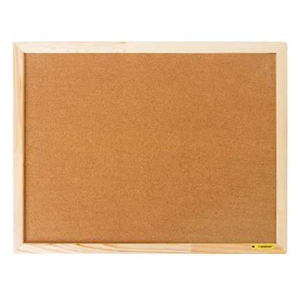Доска пробковая, с деревянной рамой, 60x45 см., inФОРМАТ, цвет коричневый