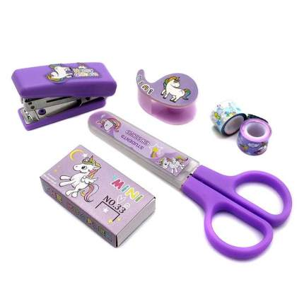 """Детский канцелярский набор из 5 предметов """"Единороги"""" фиолетовый"""