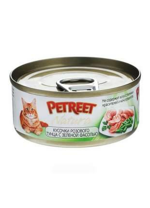 Влажный корм для кошек Petreet, тунец, с зеленой фасолью, 48шт, 70г