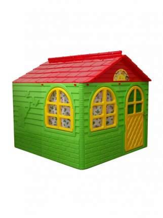 Игровой домик с карнизами и шторками Doloni зелено-красный, 129x129 см