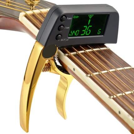 Каподастр для укулеле с тюнером, золотистый, 11х6,1х1,2 см, The String ST-TUNER-03