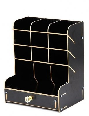 Подставка для маркеров с ящиком SoulArt Black, 9 ячеек