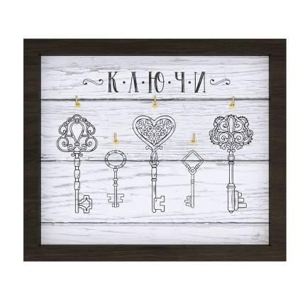 """Ключница настенная """"Ключи декоративные 6"""", 22х26 см, массив дерева, Дубравия, KRI-021-KK"""