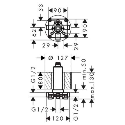 Внутренняя часть для верхнего душа Hansgrohe Rainmarket Select 460 24010180