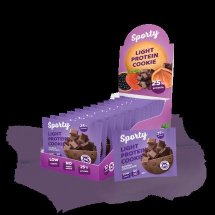 Печенье Sporty Light Protein Cookie 12 40 г, 12 шт., Двойной шоколад