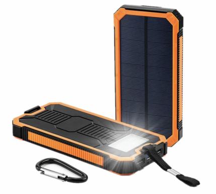 Водонепроницаемый внешний аккумулятор LEORY на солнечной батарее, 10000 мАч, оранжевый