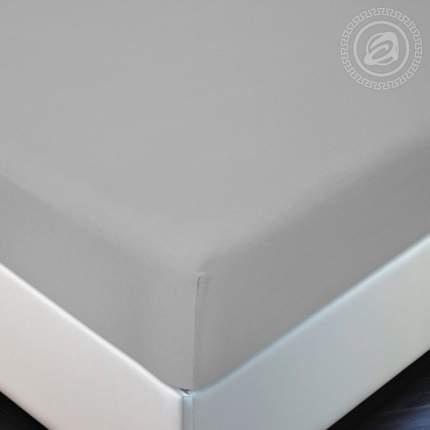 Простынь на резинке 160х200 (борт 20 см) трикотажная Серый АРТПОСТЕЛЬ