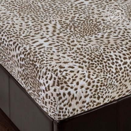 Простынь на резинке 160х200 (борт 20 см) трикотажная Леопард АРТПОСТЕЛЬ