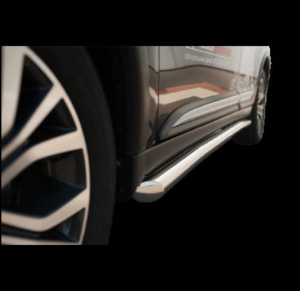 Пороги труба d63 (вариант 1) для Mitsubishi Outlander 2015-2017